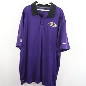 NIke Mens 2XL Baltimore Ravens Dri Fit Polo Shirt